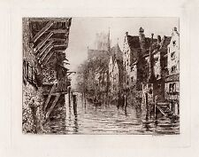 """WOW 1800s ERNEST GEORGE Original Etching """"City of Romantic Waterways"""" SIGNED COA"""