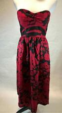 Tibi Women's Red and Black Floral Bustier Dress Size 8 New
