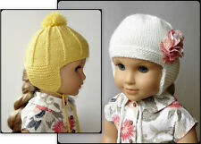 "Knitting Pattern - Marigold Ear Flap Hat For American Girl Doll 18"" Doll Clothes"