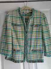 St John Collection Collection Knit Jacket Blazer Wihte Green Blue Plaid Size 16