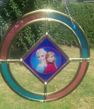 Pink and blue Frozen  glass sun catcher. Ideal birthday gift.
