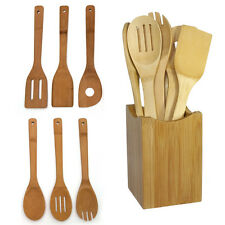 Trendy 6pcs Bamboo Spoon Spatula Wooden Utensil Kitchen Tool in Mesh Bag
