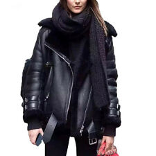 Acne Style Oversized Shearling Faux Leather Fur Motorcycle Biker Jacket Black Sm