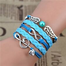 "Silver Plated Music Note Blue Angel Wings   Leather Cord Charms Bracelet 6.5""-8"""