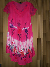 OSFM Dress Cover Up Embroidery Floral Fuchsia CapSleeves Vneck  NWT L XL 1X 2X