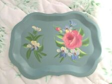 Shabby Hand Painted Pink Roses Turquoise Blue Vintage Metal Dresser Tole Tray