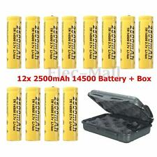 12PCS 14500 3.7V 2500mAh Rechargeable Li-ion Battery + Box For Flashlight Torch