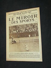 LE MIROIR DES SPORTS N 336 1926 TENNIS USA FRANCE COUPE CUP DAVIS LACOSTE TILDEN