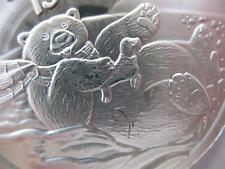 1-OZ..999 SILVER  1999 WINTER CHRISTMAS SLEDDING POLAR BEAR GIFT BOX COIN + GOLD