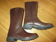 m&s young girls brown leather boots shoes size 4 eu 37 brand new with tags