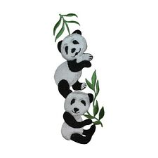 ID 2789z Pair of Pandas Munching Eating Bamboo Iron On Badge Applique Patch