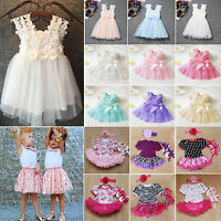 Kids Girls Princess Tulle Tutu Skirt Party Wedding Bridesmaid Flower Dress 0-7Y