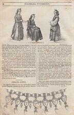 1836 Donne di Procida costumi italia meridionale Napoli  litografia