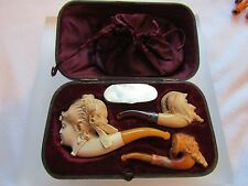 Victorian Boxed Set of 3 Carved Meerschaum Pipes Tobacco Pouch and Match Holder