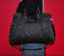 COACH ASHLEY Signature Sateen Black Leather Carryall Shoulder Purse Bag 19244