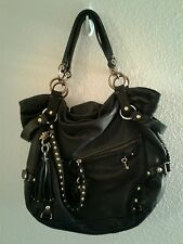Gorgeous Collectible RARE Juicy Couture Black LEATHER Handbag Purse Large