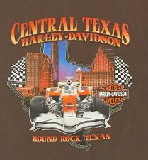"Tee Shirt, Harley Davidson, Central TX H-D, Round Rock, Brown, ""Live Free"", L"