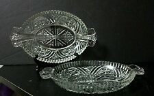 Set of 2 Vtg Anchor Hocking Crystal STARS and BARS 2-Part Divided Relish Dishes