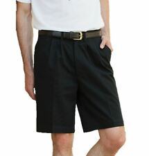 Henbury Mens Gents Teflon Coated Cotton Pleated Chino Shorts - Black Navy Stone