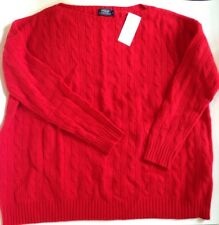 BNWT Ladies Ralph Lauren Red 100% Wool Cable Knit Jumper Size M RRP £130