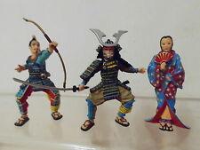 Historische Figuren Japan 3 x Figur Plastoy Geisha + Samurai Krieger -schön-