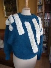 """PULL """"Noblesse oblige"""" MOHAIR ANGORA  T36/38 VINTAGE 80 ANGORA PULLOVER size S"""