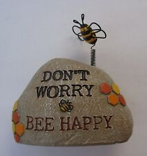 q Don't worry be happy BEE ROCK Home Garden stone bumble figurine desk ganz