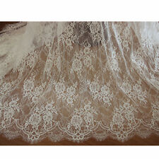 """Eyelash Floral Lace Fabric Ivory DIY Wedding Bridal Dress 59"""" width 1 yard"""
