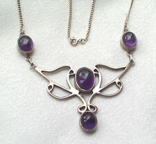 ART NOUVEAU STYLE VTG JEWELLERY CELTIC AMETHYST/SILVER HAND CRAFTED NECKLACE