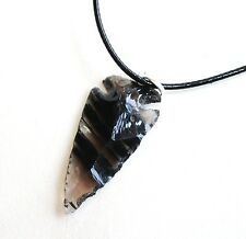 REIKI ENERGY CHARGED RAW BLACK OBSIDIAN ARROWHEAD PENDANT NATURAL CRYSTAL STONE