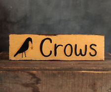 Crows Sign Distressed Rustic Reclaimed Wood Primitive Home Decor 12 inch