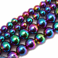 MAGNETIC  HEMATITE BEADS RAINBOW COLORS 4MM ROUNDS