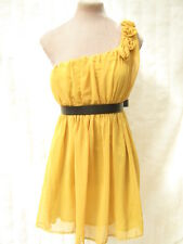 Sunflower yellow one shoulder Floaty chiffon Dress 8 10 12 14 wedding bridesmaid