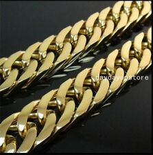 """24""""9mm Heavy Men's Jewelry Gold Curb Cuban Chain Necklace 316L Stainless Steel"""