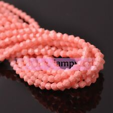 New 4mm 6mm Opaque Colorful Bicone Faceted Glass Crystal Loose Spacer Beads DIY