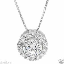 "1.20 CT Round Cut Halo Pendant 14K With Gold Pave Necklace With 16"" Chain"