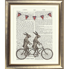 ART PRINT ON ORIGINAL ANTIQUE BOOK PAGE Tandem Bicycle Hare Dictionary Rabbit