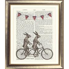 Impresión de arte en Original Antiguo Libro página Bicicleta tándem Liebre Diccionario Conejo
