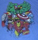 MARVEL T-Shirt Avengers Iron Man Hulk Thor & Captain America Blue Tee