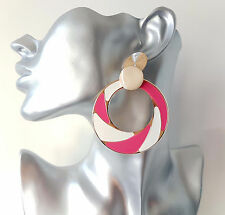 Gorgeous large RETRO pink - white & gold tone patterned hoop drop earrings