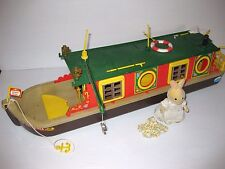 VINTAGE Sylvanian Families EPOCH CALICO CRITTERS Lot CANAL BOAT & FIGURE