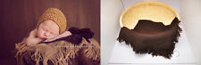 Newborn Infant Baby photo props solid Tassel Linen Blankets Mat stuffer MB08