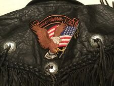 HARLEY-DAVIDSON Vntg Leather Black Fringe Motorcycle Jacket Emblem in Back Sz 46