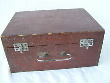 """۞  Made in USSR 10"""" russian soviet VINTAGE WOODEN tool box /suitcase with handle"""