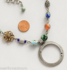 Chico's Signed Necklace Silver Tone Embossed Ring Pendant  Flower Charms Glass