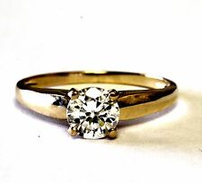10k yellow gold cubic zirconia cz round engagement ring estate vintage womens
