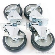 """Set of 4 Plate Casters with 5"""" Polyurethane Wheels All Swivel with Brakes Base"""