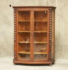 H1157 : Antique American Oak Curved Glass Front China / Display Cabinet