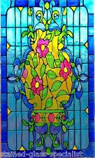 ART DECO WILD ROSE STAINED GLASS EFFECT WINDOW CLING SUN CATCHER DECORATION