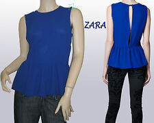 ZARA WOMENS LADIES BLUE SLEEVELESS PEPLUM TOP BLOUSE SHIRT NEW NWT M MEDIUM GIFT
